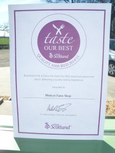 Delighted to have received the Taste our Best award from Visit Scotland.